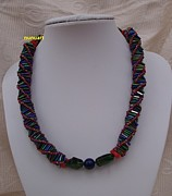 Red Beads Jewelry - DNA buggles necklace  by Nurit Schlomi von-strauss