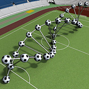 Stadium Digital Art - DNA String Of Soccer Player On The Field Of Stadium by Nenad  Cerovic