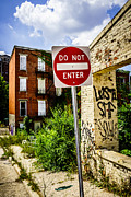 Dilapidated Houses Prints - Do Not Enter Sign at Glencoe Auburn Place Picture Print by Paul Velgos