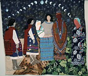 Art Quilt Tapestries - Textiles Prints - Do not Judge a women until you have walked two moons in her moccasins Print by Beatriz Soco Ocampo
