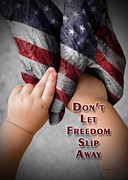 Ronald Reagan Prints - Do Not Let Freedom Slip Away v1 Print by Jayne Gohr