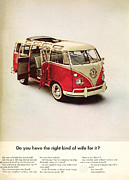 Vw Camper Van Posters - Do you have the right kind of wife for it Poster by Nomad Art And  Design