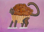 Cute Cat Pastels Prints - Do You Know The Muffin Cat Print by R Neville Johnston
