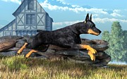 Running Digital Art - Doberman by Daniel Eskridge