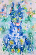 Doberman Paintings - DOBERMAN in the GRASS - watercolor portrait by Fabrizio Cassetta
