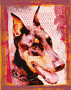 Lisa Noneman Mixed Media Framed Prints - Doberman Love Framed Print by Lisa Noneman