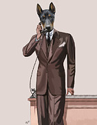 Vintage Digital Art Digital Art - Doberman on the phone by Loopylolly