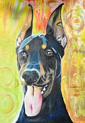 Doberman Paintings - Doberman by PainterArtist FIN