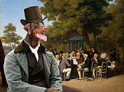 Doberman Pinscher Paintings - Doberman Pinscher Art - Politicians in the Tuileries Gardens by Sandra Sij