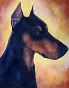 Doberman Pinscher Paintings - Doberman Pinscher by Barb Yates