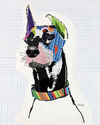Dog Pet Portraits Mixed Media Posters - Doberman Pinscher Poster by Michel  Keck
