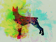 Pinscher Prints - Doberman Pinscher Watercolor Print by Irina  March
