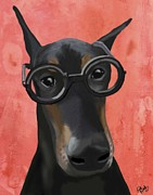 Doberman Framed Prints - Doberman with Glasses Framed Print by Loopylolly