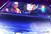 Tardis Digital Art Prints - Doc Doctor and the Delorian Print by Brett Hardin