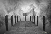 Dave Gordon Framed Prints - Dock and Clouds Framed Print by Dave Gordon