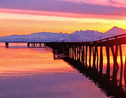 Pink Dawn Prints - Dock at Cold Bay Print by Michael Pickett