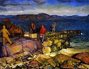 Coastal Landscape Prints - Dock Builders Print by George Wesley Bellows
