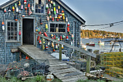 Blue Sea Print Prints - Dock House in Maine Print by Jon Glaser