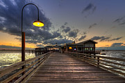 Sunset Scenes Framed Prints - Dock lights at Jekyll Island Framed Print by Debra and Dave Vanderlaan