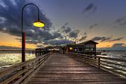 Dock Lights At Jekyll Island Print by Debra and Dave Vanderlaan