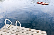 Diving Photos - Dock on calm summer lake by Elena Elisseeva