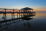 Florida Bridges Prints - Dock on the Bay Print by Debra and Dave Vanderlaan