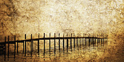 White River Scene Art - Dock by Skip Nall