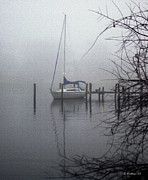 Docked Sailboat Posters - Docked In The Fog - Paint Effect Poster by Brian Wallace