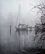 Docked Boat Digital Art Prints - Docked In The Fog - Texture Effect Print by Brian Wallace
