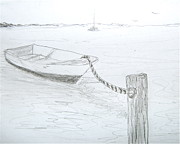 Beach Scenery Drawings Prints - Docked Print by Janet Darling