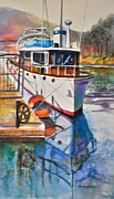 Docked Boat Painting Posters - Docked Poster by Mary Fran  Anderson