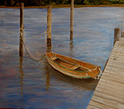 Docked Boat Painting Prints - Docking Old Faithful Print by Susan Dyson