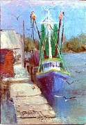 Trawler Paintings - Dockside At Bon Secour Alabama by Joanne Hall