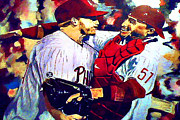 Famous Baseball Moments Paintings - Docs No Hitter by Kevin J Cooper Artwork
