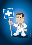 Ramspott Prints - Doctor Cartoon Man Hospital Sign Print by Frank Ramspott