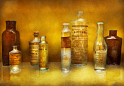 Glass Bottles Posters - Doctor - Oil Essences Poster by Mike Savad