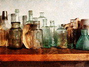 Pharmacy Art - Doctor - Row of Medicine Bottles by Susan Savad
