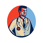 Medical Digital Art - Doctor Stethoscope Standing Retro by Aloysius Patrimonio