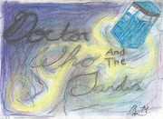 Fan Pastels Posters - Doctor Who and The Tardis Poster by Maxine Meyers