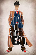 Drawing Digital Art Prints - Doctor Who Inspired Tenth Doctors Typographic Artwork Print by Ayse T Werner
