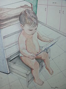 Child Reading Drawings - Doctors Visit by Dianne McDaniel