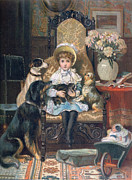 Puppies Drawings Posters - Doddy and her Pets Poster by Charles Trevor Grand