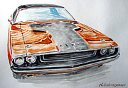 Challenger Drawings - Dodge Challenger by Rimzil Galimzyanov