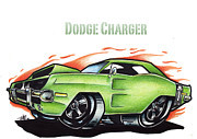 Big Mike Roate Mixed Media Framed Prints - Dodge Charger Framed Print by Big Mike Roate