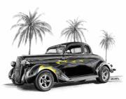Charcoal Car Posters - Dodge Coupe Poster by Peter Piatt