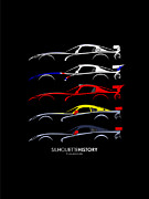 Dodge Digital Art Posters - Dodge Viper Racing SilhouetteHistory Poster by Gabor Vida