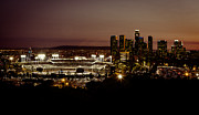 Dodger Stadium Photos - Dodger Stadium at Dusk by Linda Posnick