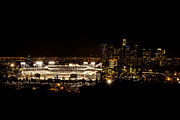 Dodger Stadium Photos - Dodger Stadium at Night by Linda Posnick