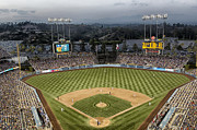 Iconic Baseball Players Prints - Dodger Stadium in the Evening Print by Carol M Highsmith