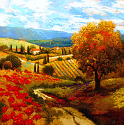 Italian Landscapes Paintings - Dodogne Vineyard by Kanayo Ede